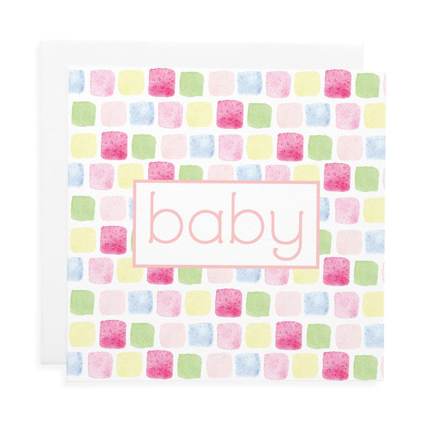 LAUREN HINKLEY- Greeting Card-Bricks pink Large