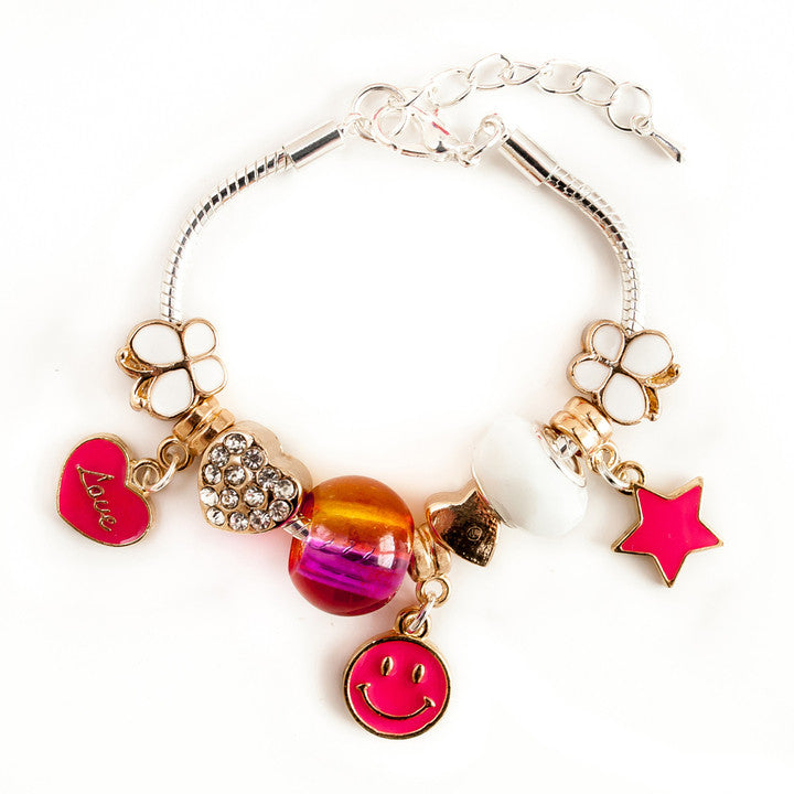LAUREN HINKLEY- Gold Hot Pink charm bracelet