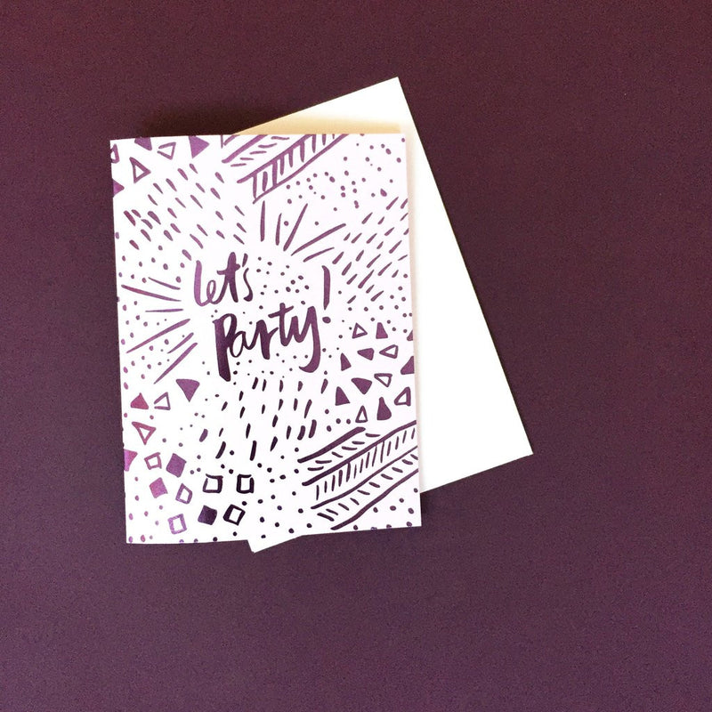 Blushing confetti Let's Party card