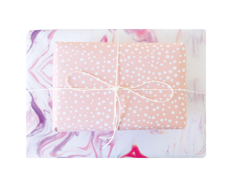 Blushing Confetti Double Sided Gift Wrap – Marbled Polka Dots
