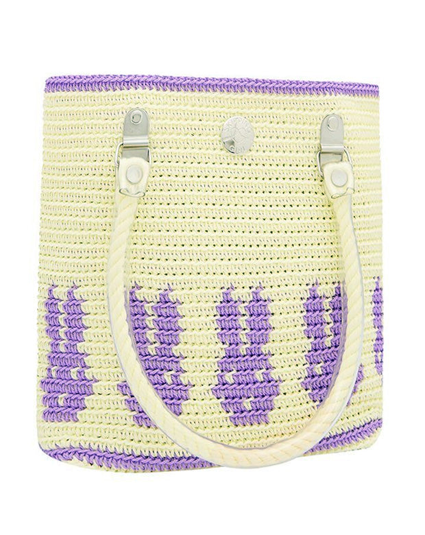 SKIPPING GIRL Mini Bunnies tote-Cream/purple