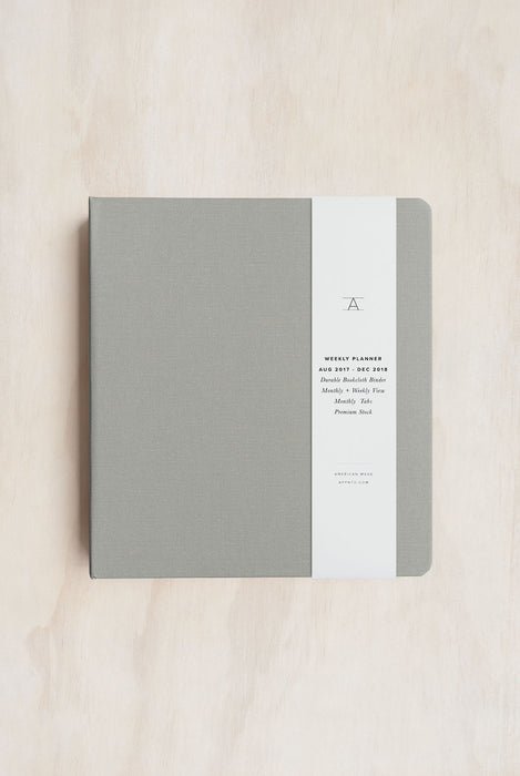 APPOINTED- 2018 12 Month Binder Planner - Weekly - Large(15x20cm) - Hard Cover - Dove Grey