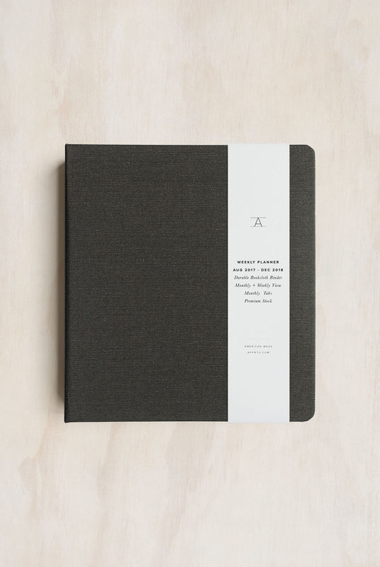 APPOINTED- 2018 12 Month Binder Planner - Weekly - Large(15x20cm) - Hard Cover - Charcoal