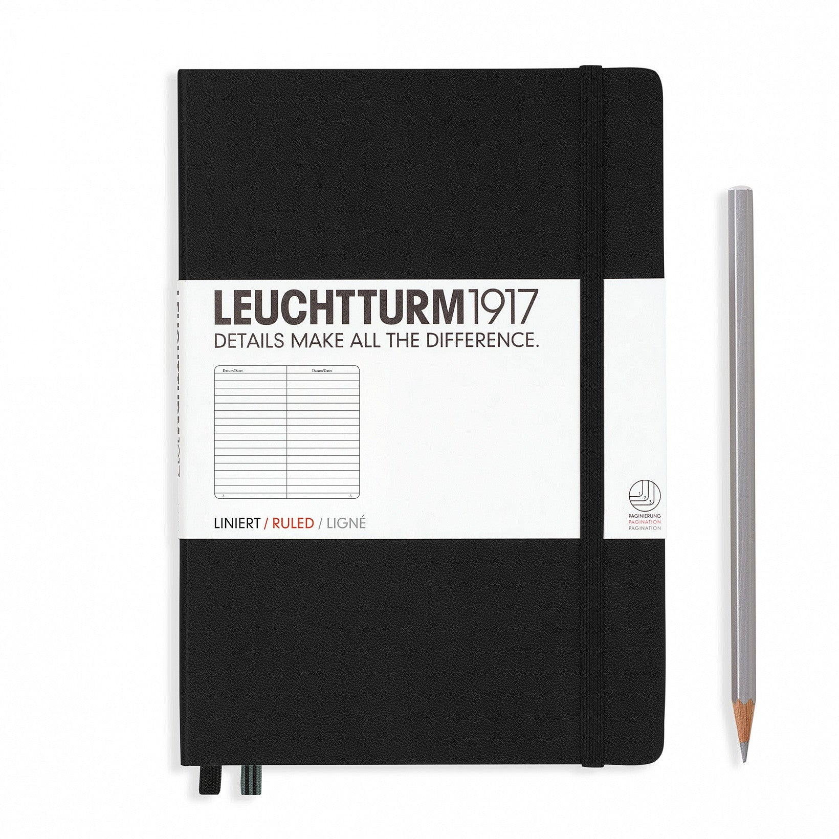 LEUCHTTURM1917 A5 Agenda Notebook LINED - Black