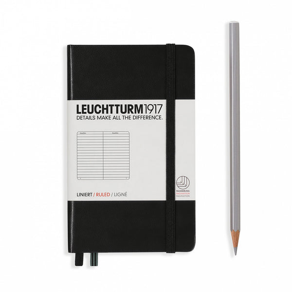LEUCHTTURM1917 A6 Agenda Notebook LINED- Black