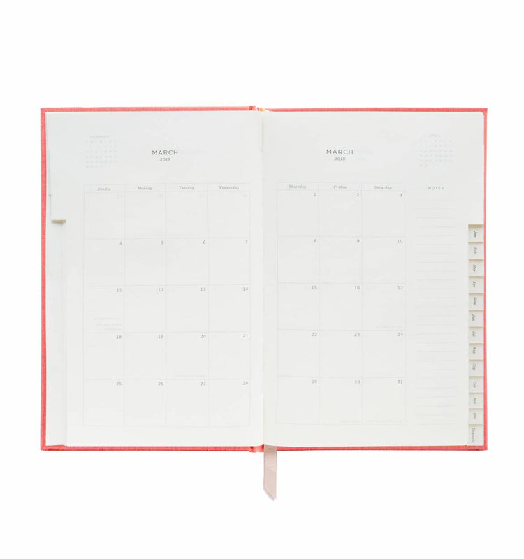 RIFLE PAPER CO- 2018 Hard Cover Planner - Coral
