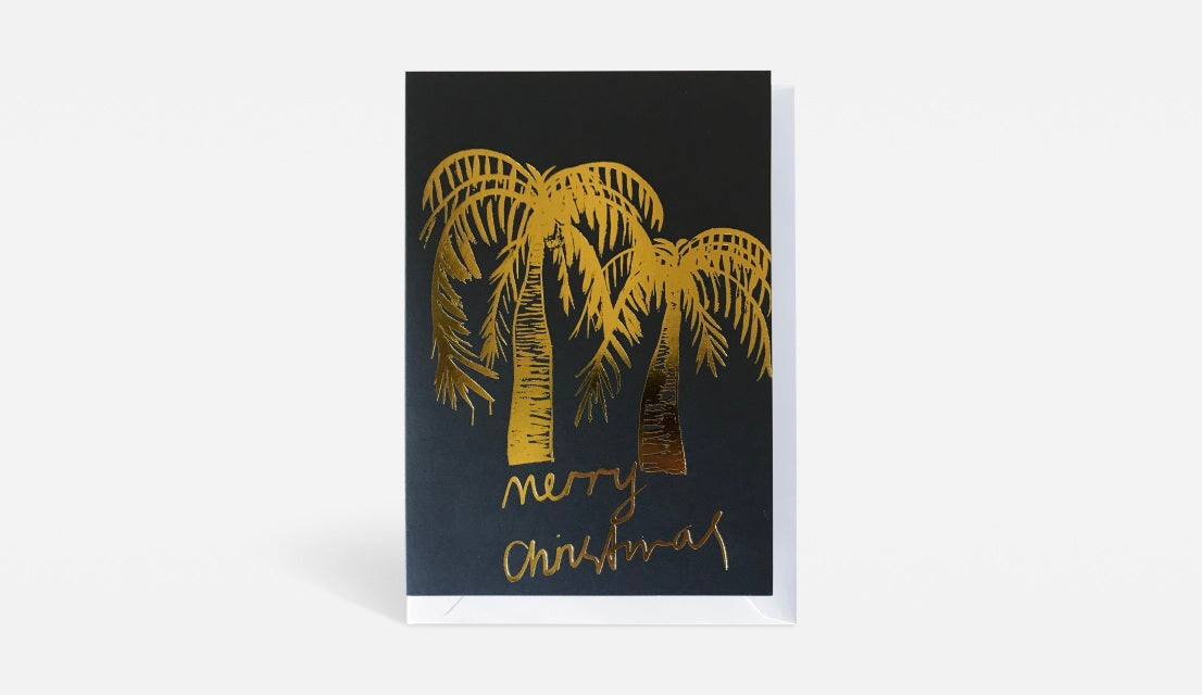 LIBBY WATKINS Christmas card-Merry Christmas Gold Palms