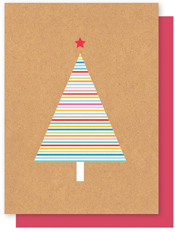 ELLY OAK CARDS-STRIPY  TREE