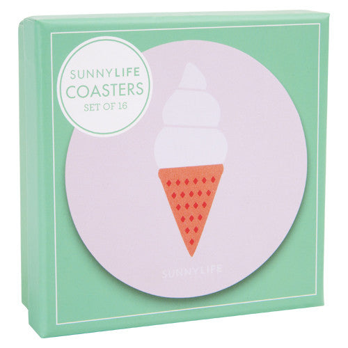SUNNYLIFE Coasters set of 16 Ice cream coasters