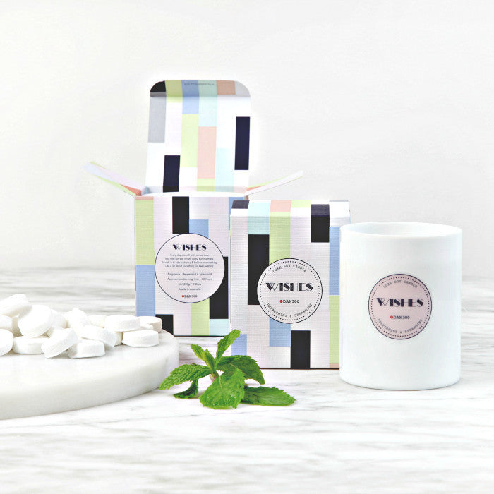 DAN300 Boxed Candle-WISHES-Peppermint & Spearmint