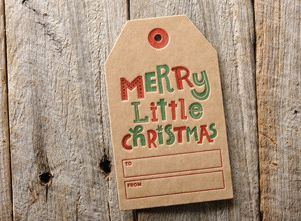 WOOD DUCK PRESS Merry little Xmas set of 3 gift tags