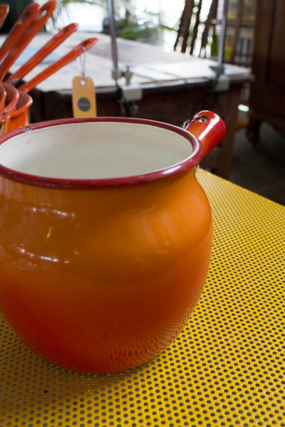 Orange Enamel Pot