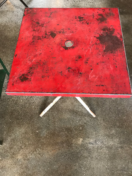 Red and White Metal Bistro Table