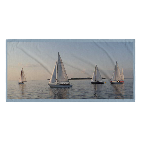 Long Island Sound Sailboats, Beach Towel - LGINY: LONG ISLAND, NY