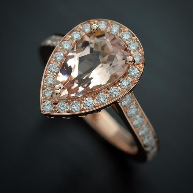 Pearl Shape Morganite engagement ring