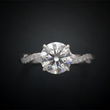 twisted band engagement ring solitaire with pave