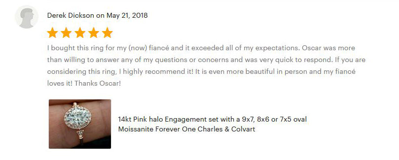 Engagement ring 5 star customer testimonial