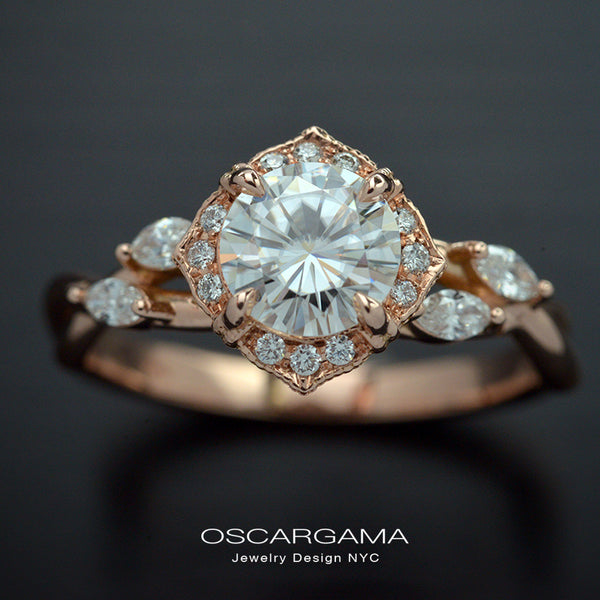 Rose gold engagement ring vintage inspired halo with a twist band
