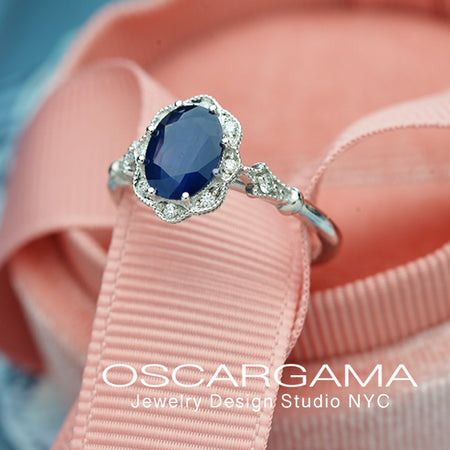 blue sapphire engagement ring halo vintage inspired in white gold