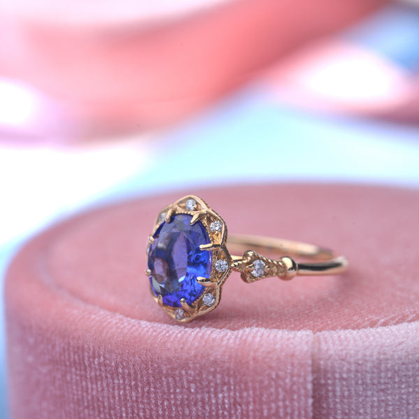 Tanzanite oval Engagement Ring bridal rose gold