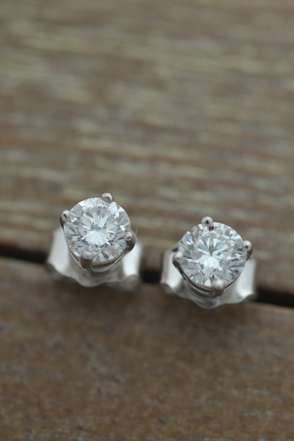 Stud Earrings Lab Grown Diamond Gold Plated sterling silver