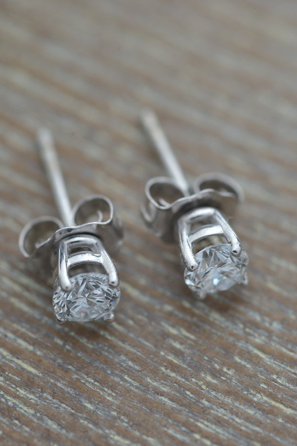 diamond stud earrings in white gold