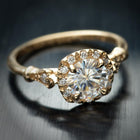 yellow gold cushion halo engagement ring vintage style