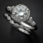 white gold round halo engagement ring with band