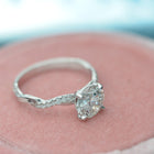solitaire engagement ring twist band with diamonds