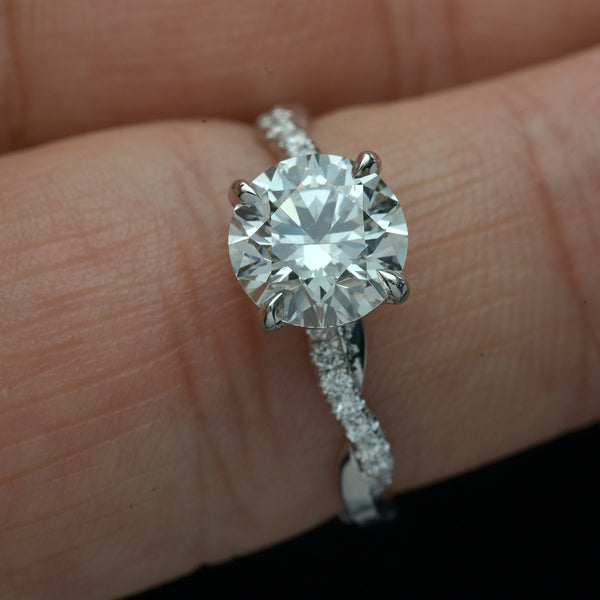 Classic Solitaire twist band Engagement Ring with Micro Pave