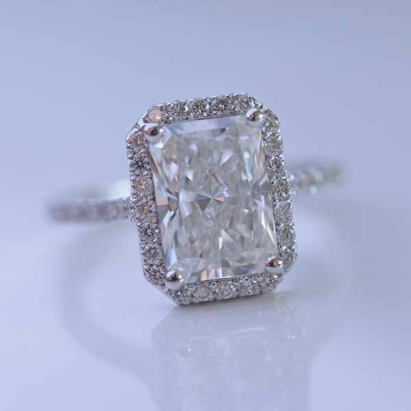 Moissanite 3 ct TW radiant halo engagement Ring / French cut pave with a 2.50 Moissanite Forever One