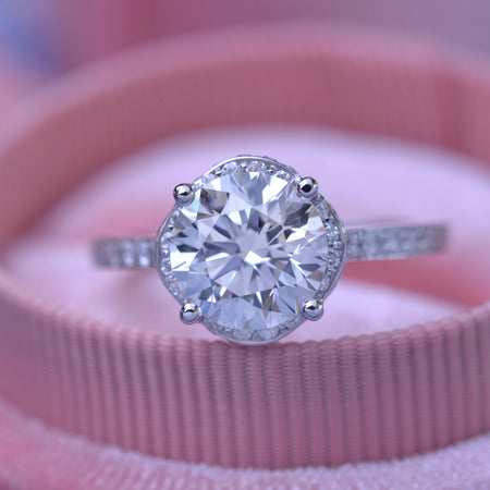 Copy of 2.5 carat TW Round under halo engagement Ring with Bring cut pave in 14k white gold with a 2.04ct Lab grown diamond H-VS2