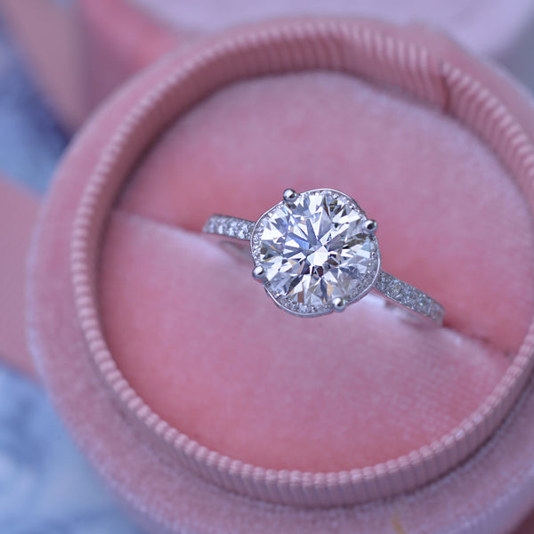 Lab 2.5ct TW Round under halo engagement Ring with bright cut pave with a 2.04ct Lab grown diamond H-VS2