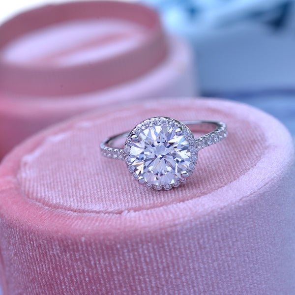 Moissanite 3ct TW Round under halo engagement Ring with French cut pave with a 2ct Forever One Moissanite