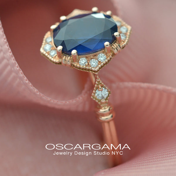 Blue Sapphire Vintage engagement Ring in Rose Gold