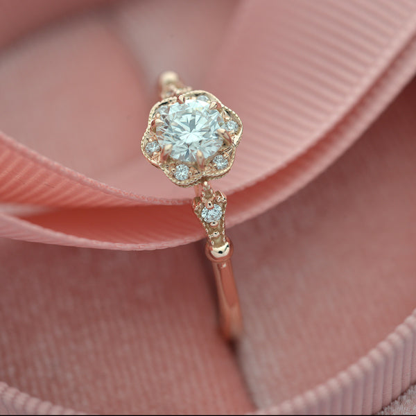 rose gold engagement ring profile round flower halo