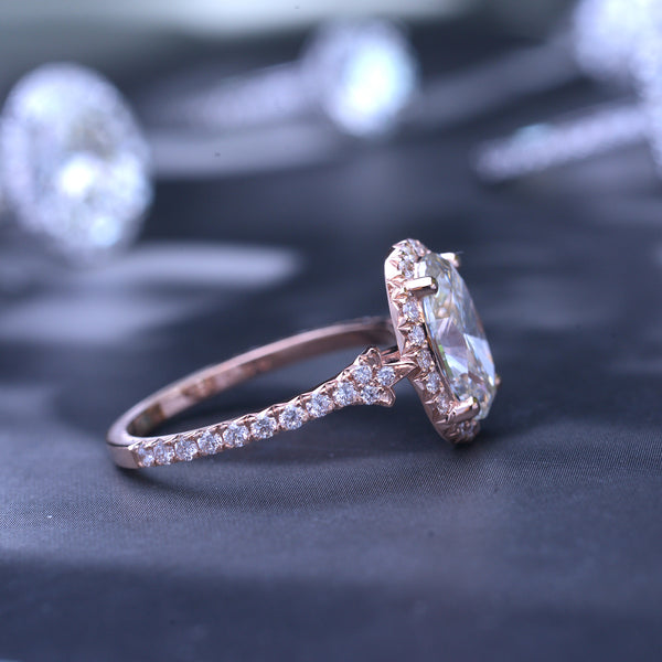 Lab 2.5ct TW Oval halo vintage inspired engagement Ring / French cut pave 2ct Lab grown diamond H-SI1