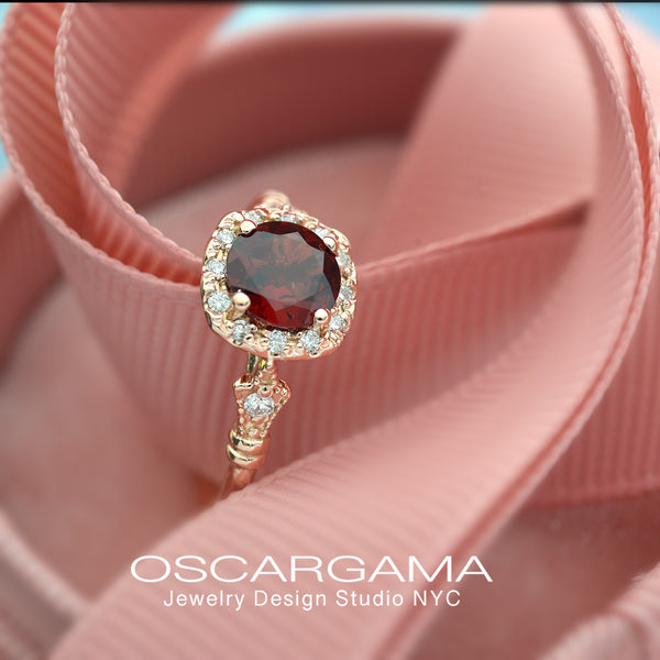 rose gold cushion halo engagement ring red garnet red center