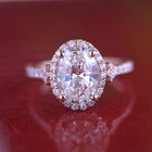 Moissanite 2.5ct TW Oval halo vintage inspired engagement Ring / French cut pave 2ct Forever One Moissanite