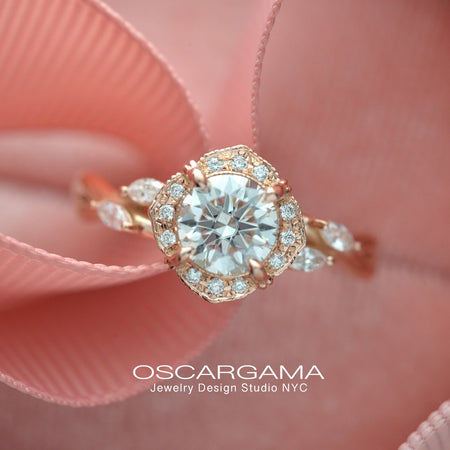 Rose gold engagement ring vintage inspired halo with a vine twist band