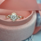 Haydee Twisted Vine Marquise Diamonds Band Halo Engagement Ring Vintage Inspired