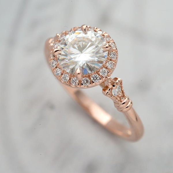 Jazzlyn Round Halo Engagement Ring Vintage Inspired in gold