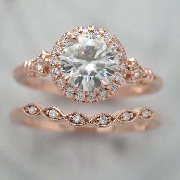 rose gold round halo engagement ring with band