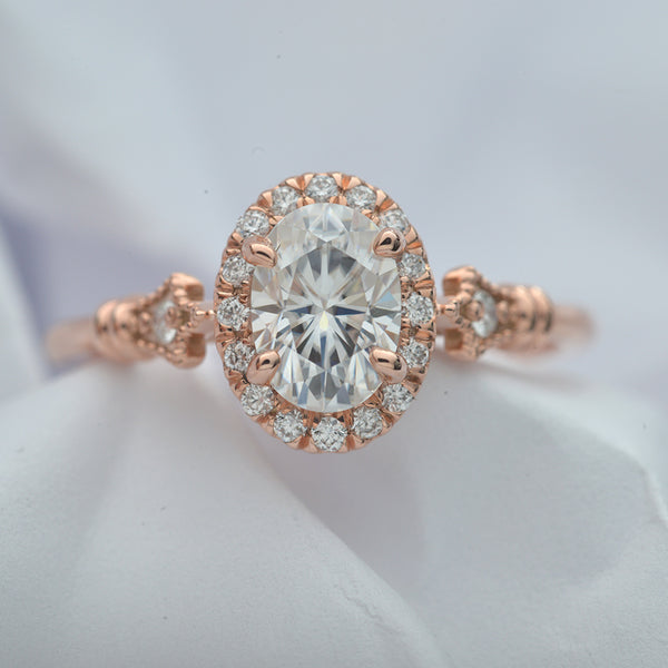 Jazzlyn Oval Halo engagement ring vintage inspired