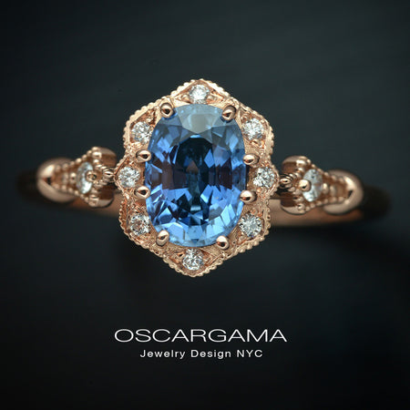 Cornflower blue sapphire oval engagement ring vintage inspired halo