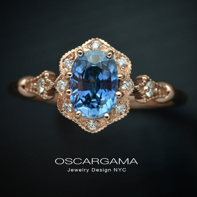 Rose Gold Engagement Ring with cornflower blue sapphire
