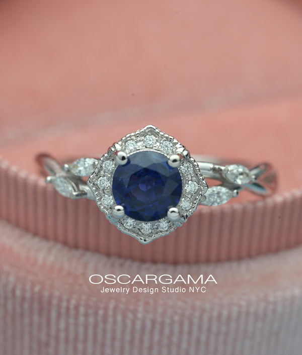blue sapphire halo engagement ring vine twisted band