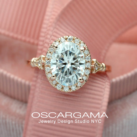 oval halo engagement ring vintage style in pink rose gold