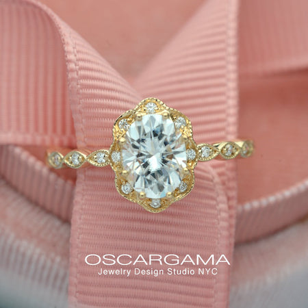 yellow gold oval halo engagement ring vintage style