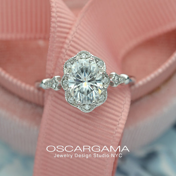Oval Halo engagement ring Vintage inspired in white gold